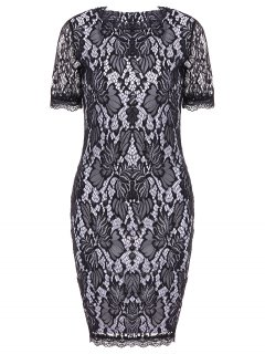 Lace Hook Patch Pencil Dress With Sleeves - Black M