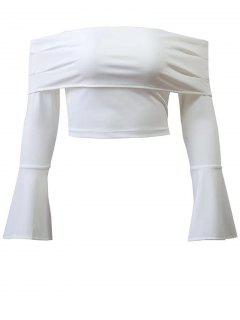 Bell Sleeve Overlay Crop Top - White S