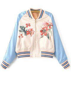 Floral Print Baseball Jacket - Blue And White S