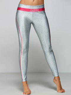 Stretchy Activity Printed Gym Pants - Pink + Gray