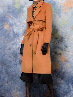 Lapel Collar Belted Wool Blend Coat - Camel M