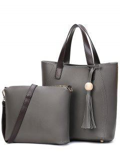 Colour Spliced Stitching Tassels Tote Bag - Deep Gray