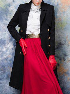 Wool Blend Double-Breasted Long Trench Coat with Belt   - Black S