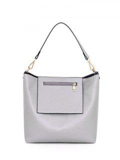 Pocket Magnetic Closure PU Leather Shoulder Bag - Light Gray