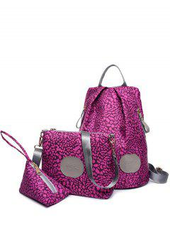 Print Zippers Color Spliced Backpack - Violet Rose