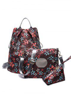 Print Zippers Color Spliced Backpack - Coffee