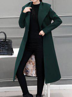 Wool Blend Maxi Long Wrap Shawl Collar Belted Coat - Blackish Green Xl