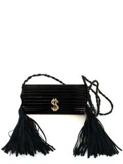 Tassels Acrylic Metal Evening Bag - Black