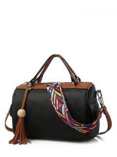 Tassels Colour Spliced Textured LeatherTote Bag - Black