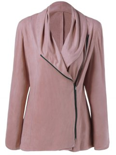 Inclined Zipper Design Fleece Jacket - Nude Pink Xl