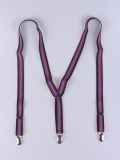 Elastic Stripe Suspenders - Royal Blue