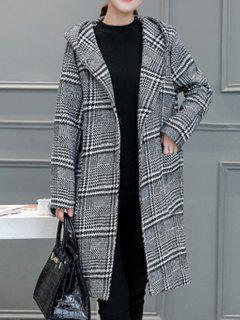 Houndstooth Hooded Wool Blend Coat - Gray L