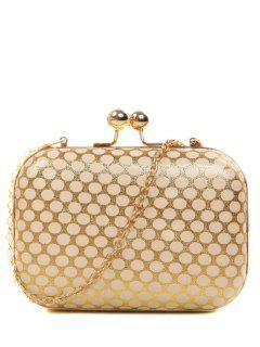 Polka Dot Metal Liss Lock Evening Bag - Golden