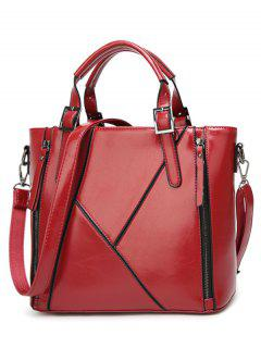 Buckles PU Leather Zippers Tote Bag - Wine Red