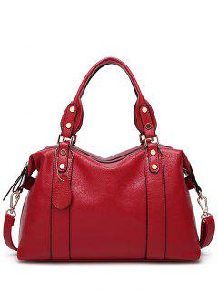 Textured Leather Zip Metal Tote Bag - Red