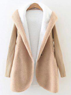 Manteau à Capuche En Molleton Pelucheux Avec Manches En Tricot - Kaki