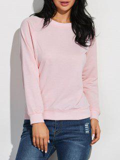 Raglan Sleeve Basic Sweatshirt - Pink L