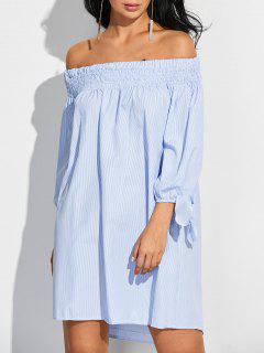 Striped Tie Sleeve Off Shoulder Dress - Blue And White S
