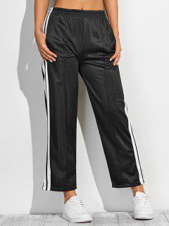 White Stripes Fitting Furcal Track Pants - Black M