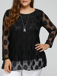 Plus Size Lace Tunic Top - Black 2xl