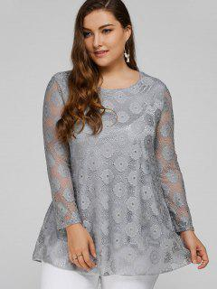 Plus Size Lace Tunic Top - Gray 2xl