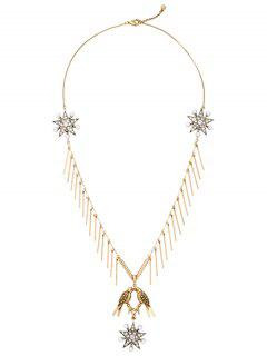 Rhinestone Faux Pearl Star Sweater Chain - Golden