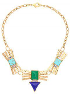 Rhinestone Faux Turquoise Geometric Necklace - Golden