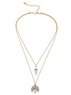 Rhinestone Triangle Moon Layered Pendant Necklace - Golden