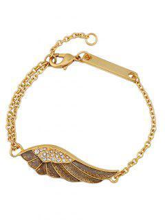 Vintage Angel Wing Rhinestone Bracelet - Golden
