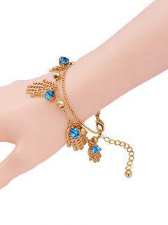 Palm Rhinestone Charm Bracelet - Golden