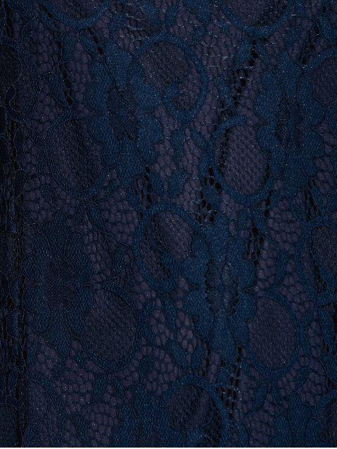 Cadrage Robe en dentelle à manches évasées - Bleu Violet S Mobile