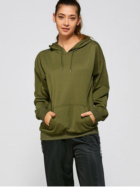 affordable Casual Loose Hoodie - ARMY GREEN L Mobile