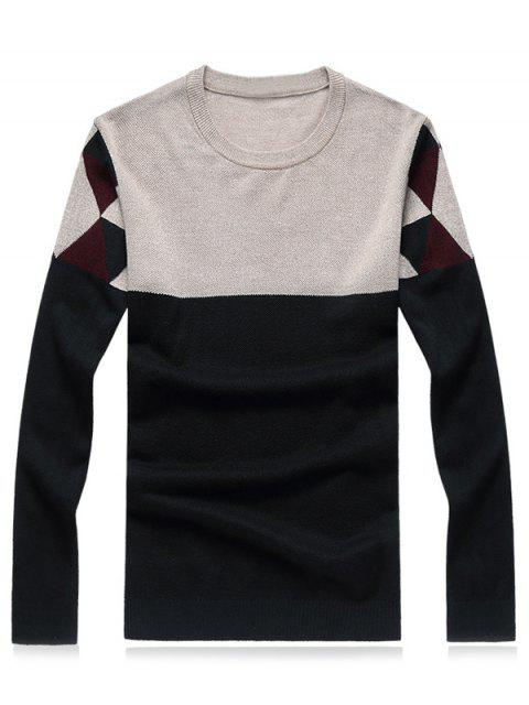 sale Crew Neck Geometric Color Block Splicing Plus Size Sweater - GREEN M Mobile