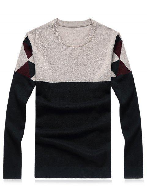 De cuello redondo geométrico del bloque del color de empalme más el tamaño del suéter - Verde M Mobile