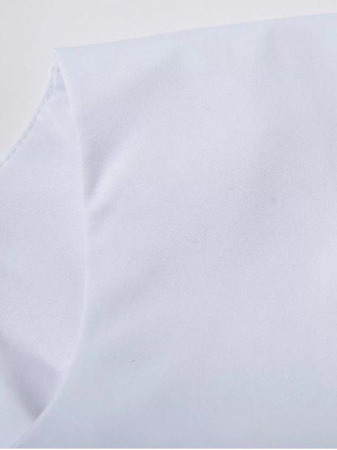 fashion High Low Bell Sleeve Mesh Panel T-Shirt - WHITE L Mobile