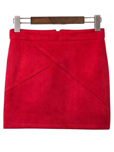 hot Mini Faux Suede Skirt - WINE RED S Mobile