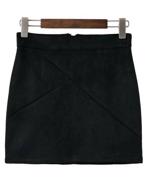 shop Mini Faux Suede Skirt - BLACK S Mobile