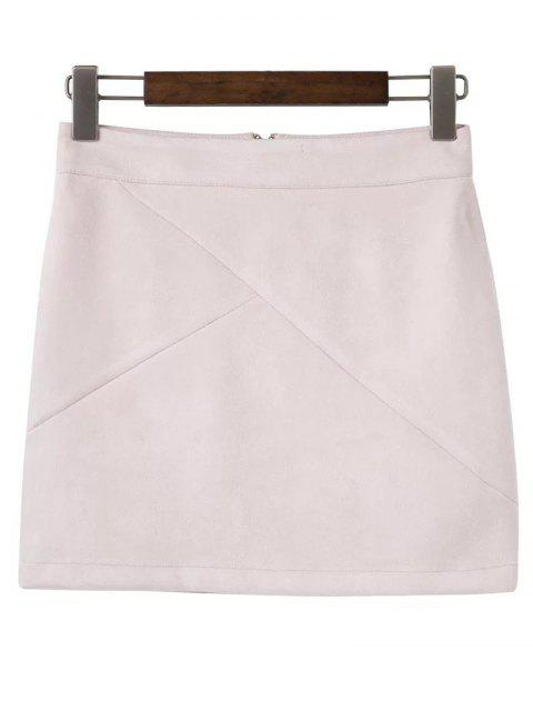 chic Mini Faux Suede Skirt - SHALLOW PINK M Mobile