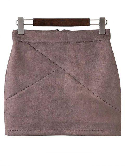 affordable Mini Faux Suede Skirt - PALE PINKISH GREY S Mobile