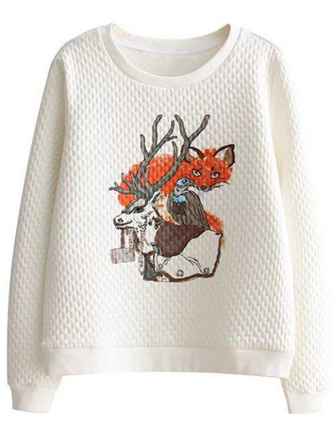 Sweat avec col rond à imprimé animaux - Blanc M Mobile