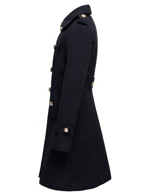 sale Woolen Double-Breasted Coat - BLACK M Mobile