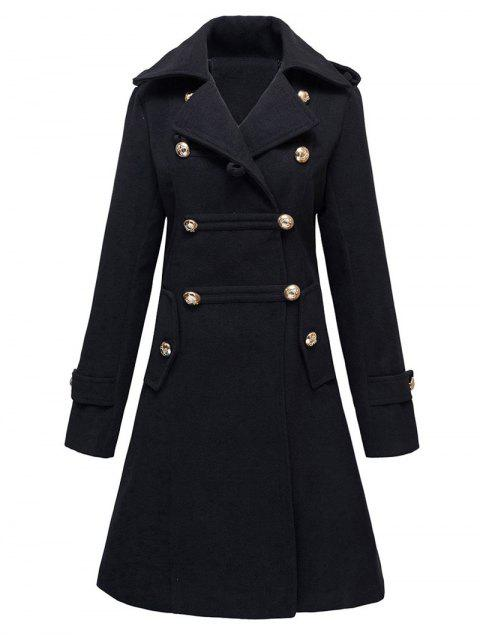 unique Woolen Double-Breasted Coat - BLACK XL Mobile