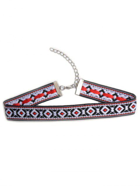 womens Square Embroidered Choker - COLORMIX  Mobile