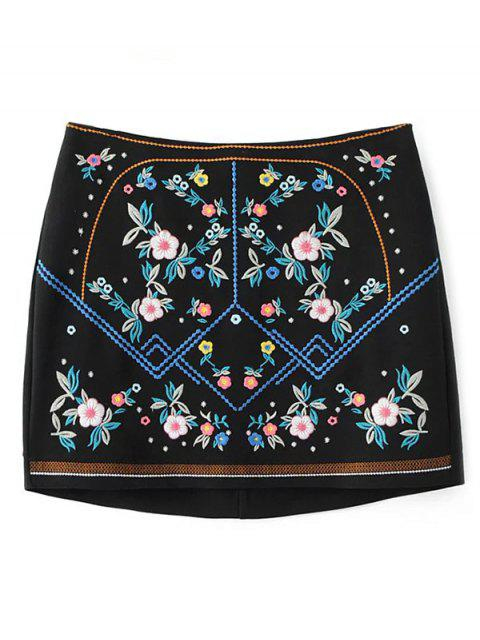 latest Floral Embroidered Sheathy Mini Skirt - BLACK M Mobile