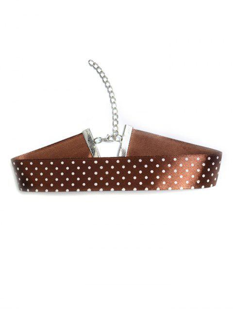 ladies Polka Dot Pattern Choker - BROWN  Mobile