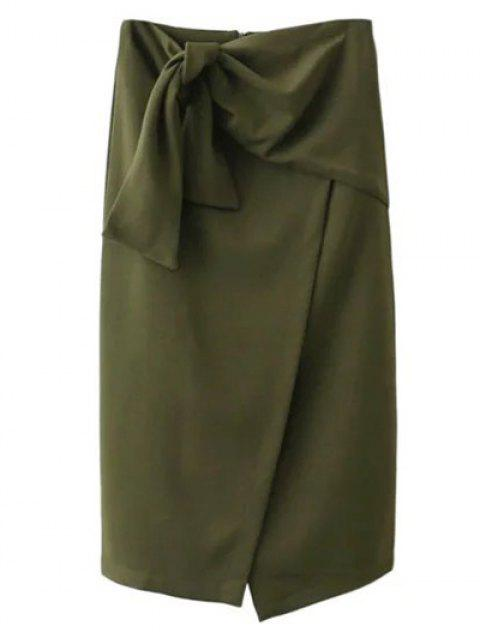 latest Tied Asymmetric Front Slit Skirt - ARMY GREEN S Mobile