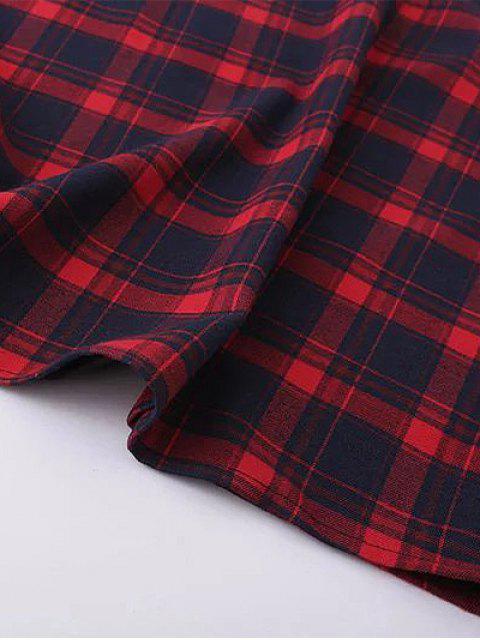 outfits Tartan Midi Slip Plaid Dress - PLAID S Mobile