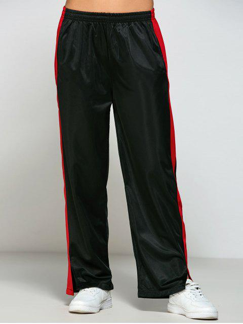 hot Color Block Furcal Track Pants - BLACK L Mobile
