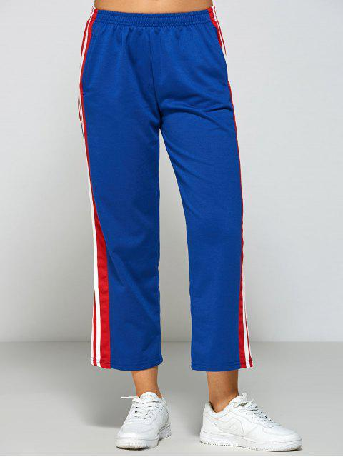 unique Stripes Fitting Track Pants - BLUE M Mobile