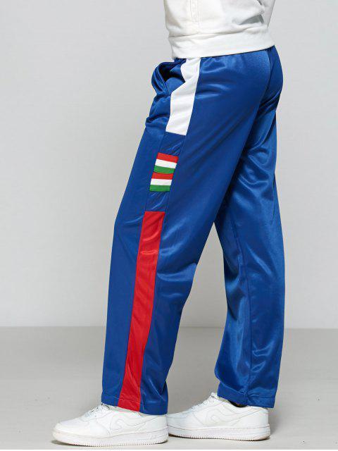 women's Color Block Elastic Waist Track Pants - BLUE L Mobile